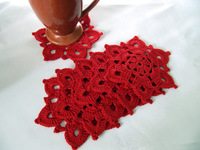 wholesale 20PCS/LOT hand crochet Christmas doilies in red cup coaster Snowflake Decor