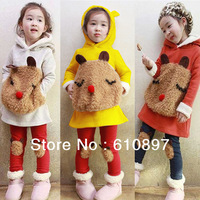 2013Wholesale Girls panda suit,2pcs  ( Coat + pants ) ,children Cotton garment of David  3 colors, 5 set/lot,Free Shipping