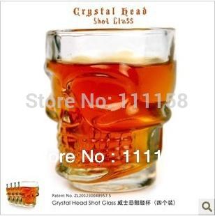 High Quality 144 PCS Fedex Free Shipping, 74ML Whisky Whiskey Glass Set Crystal Skull Head Vodka Shot Glass Cup(4PCS/Retail Box)(China (Mainland))