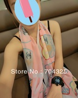 high quality flowers chiffon silk scarf 2013 Temperament Excellent  Style pink Women Scarf Shawl