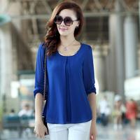 Free fast shipping 2014 autumn women's loose long-sleeve plus size cool chiffon shirt  top
