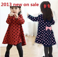 2013 autumn on sale children's clothing polka dot bow child baby girl's long-sleeve dress  free shipping one piece