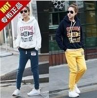 2015 new autumn winter women hooded set Korea Style Letterman Hoody +Pant 2pc Long Sleeve Fashion Thick Jogging Suit Sport suit