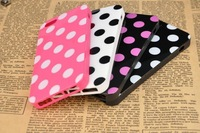 50pcs/lot Polka Dots TPU Gel Rubber Case Cover for apple iphone5 Free Shipping