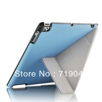 Transmutable Smart case for ipad 3 / 2 Embossed Hard Shell Anti-skid Rubber Leather case for iPad 4 Skidproof material