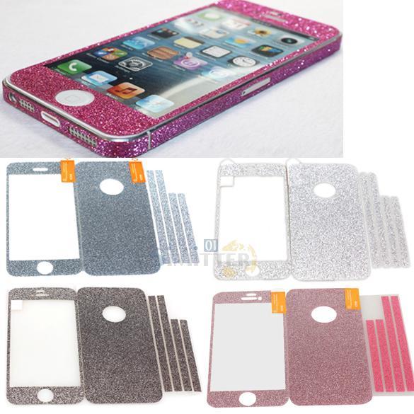 S1M# Slim Bling Full Body Film Sticker Protector Glitter Skin Cover for iPhone 5(China (Mainland))