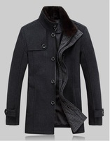 New Men's Stylish Trench Coat Winter Jacket Double Breasted Overcoat  Grey , Wholesale 558