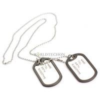 W7Tn Fashion  Dual Plates  Pendant Necklace Man Sweater Chain Military Army Style Metallic