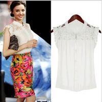 hot 2013New arrival Women's Chiffon clothes fashion lace shirt sweet Chiffon clothes shorts woman wholesale free shipping 8229