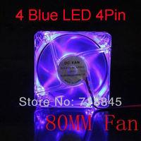 50pcs Transparent Blue LED Light 12V 4Pin 8CM 80MM 8025 PC Case / CPU Heatsink Cool Fan New