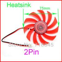 10 pcs/lot 12V 2pin 75MM Fan For PC VGA Video Card Cooling Fan Heatsink Heat sink