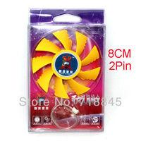 New Mute Yellow 12V 2 Pin 80 MM Fan For PC VGA Fan Heatsink Cooller
