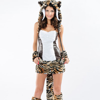 Intimate love Halloween imitation rabbit fur leopard dress cute lion mounted performances Tigers game uniforms 8631