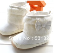 Free shipping newest upscale beige bow toddler shoes soft bottom warm boots / snow boots best selling