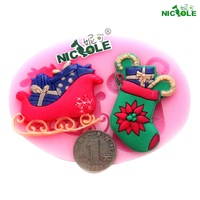 (5pcs/lot) Free shipping DIY silicone molds for cake decorating fondant mold christmas sleigh socks chocolate soap mold