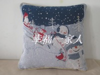 Brief modern cushion cover pillow cover pillow case sofa cushion blue christmas snowman