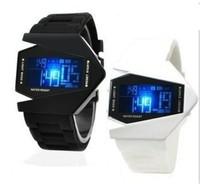 New Design Fashion White/Black V Edition Colorful Flash Fighter Aircraft Men Women Silicone Led Alarm Clock Digital Watch TF-002