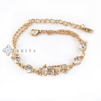 2013 New Design Gold LOVE Chain Bracelet Jewelry(1Pcs/lot)Fashion Rhinestone Chain Link Bracelet