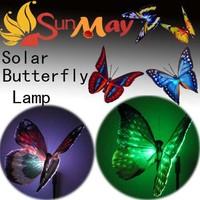 7-Color-Changing Solar craft  decoration LED butterfly Landscape Flower Solar panel path Garden Decorative stake Light  8pcs/lot