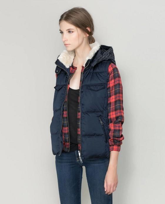 Style 2015 autumn winter women s fur collar hoodies puffer vest
