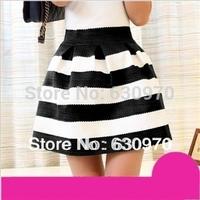 2014 autumn knitted black and white horizontal stripe skirt puff skirt high waist skirt bust expansion bottom short skirt female