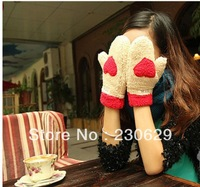 wholesale 2013 New women's lovely thick warm winter plush female love gloves to keep warm women Faux Fur gloves 1