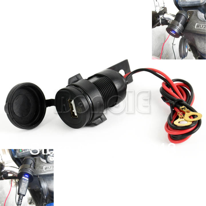 New 12V Waterproof Motorcycle USB Charger Mobile Phone Car Charger Power Adapter Black 14745(China (Mainland))