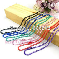 (2mm/W 70cm/L) 20pcs=14m Colorful plated Ball Chain With Connector Jewelry Chains Findings  Accessories