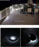 3PCS/LOT 2 LED Warm white Outdoor Solar Powered Wall Stairway Mount Garden Cool Fence Light Lamp 4956