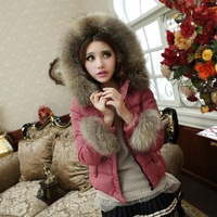 2013 slim thickening large fur collar down coat down coat female short design