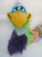 "VERN THE BIRD -acrylic fur & vinyl head,funny puppet from axtel 22""RARE"