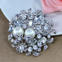 hot sale 2013 new design metal big brooches flower pearl with rhinestones brooches for women jewelry rhodium plated