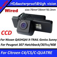 CCD HD rearview parking camera For NISSAN QASHQAI X-TRAIL Geniss Sunny Pathfinder/ Citroen C4/C5 Peugeot 307 Hatchback/307cc/408