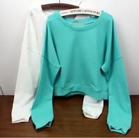 East Knitting SE-030 harajuku 2014 new style tops korean short hoodies school girl candy color Winter sweatshirts free shipping