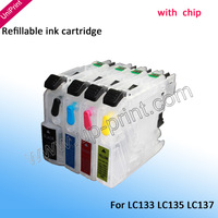 4pcs LC133 LC135 LC137 with chip refillable ink cartridge for brother J4110DW,MFC-J4410DW,MFC-J4510DW,MFC-J4610DW,MFC-J4710DW