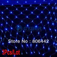 3Pcs/Lot Blue 300 LED Decorative String Lights Net Mesh Fairy Lighting Christmas Wedding Party 220V EU Plug TK0581