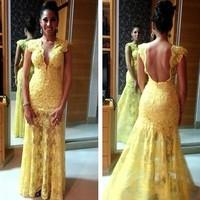 Yellow Cap Sleeve Open Back Mermaid 2014 Free Shipping Women Dress Evening Prom Dress Lace
