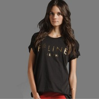 2013 fashion feline lovers' women's men's unisex o neck short sleeve T shirt women,big size,free shipping