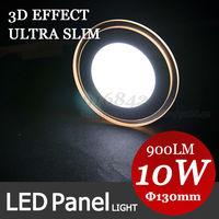 3D Effect! 10W Square Warm White SMD LED Panel Light Ceiling Light Lamp 130mm warm white shape + cool white light