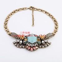 Vintage gem necklace short necklace fashion accessories female