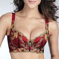 Phoenix embroider Brand new deep V bra for women ladies' girl cotton lace red thin cup A B C D  bra Size underwear lingerie new