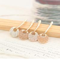 High Quality Charming 18k Gold Plated Long Round Full Rhinestone Drop Earring Women Earrings Anti-allergic Jewelry Drop shipping