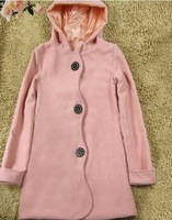 2013 free shipping New Arrival Korea Style Single Breasted Wave Pattern Hooded Coat Pink H10091612