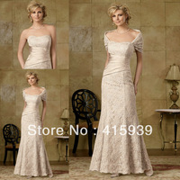 Free shipping!Elegant champagne a line lace with removable bolero long mother of the bride dresses MQ026