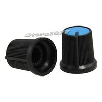 10pcs Black Knob Blue Face Plastic Potentiometer Control Knob DR017