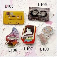 (MIN MIX ORDER IS $10--Free shipping)New arrival 2013 HARAJUKU badge brooch tape cd tv machine graphophone fashion show  B006