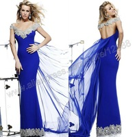 Cap Sleeve Royal Blue Chiffon Silver Lace Free Shipping Dresses New Fashion 2013 Evening