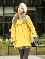 Cii winter new Korean imitation rabbit fur collar double-breasted wool coat jacket Girls Long micro cloak