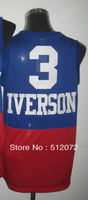 #3 Allen Iverson Men's Authentic Blue Red Throwback Basketball Jersey