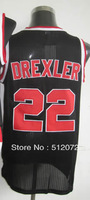 #22 Clyde Drexler Men's Authentic Home Black Throwback Basketball Jersey